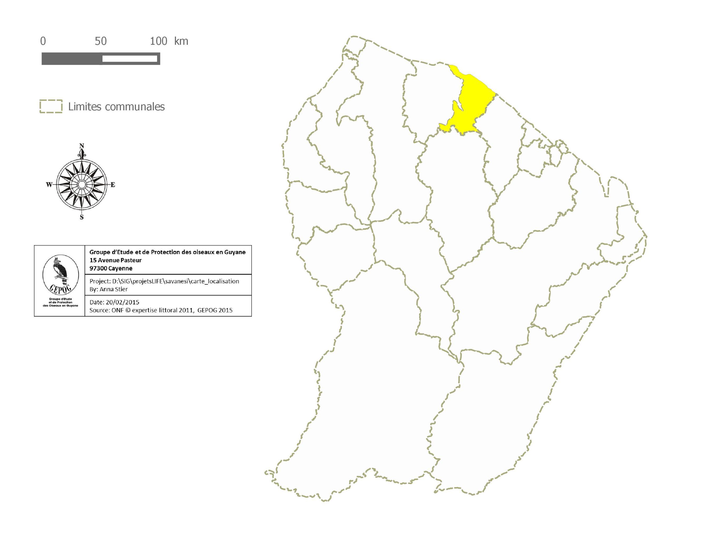 Carte de Guyane avec la commune de Kourou
